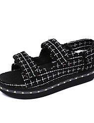 Women's Sandals Fall Winter Comfort PU Casual Low Heel Magic Tape Black White Other