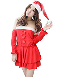Festival/Holiday Halloween Costumes Red Solid Dress / Gloves / Hats / More Accessories Christmas Female Velvet