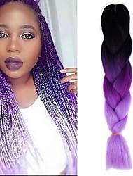 """nero scuro di luce viola porpora crochet ombre 24"""" yaki kanekalon 3 toni jumbo trecce di capelli sintetici 100g"""