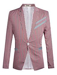 Men's Wedding / Casual/Daily / Work Simple / Boho / Street chic Fall / Winter Blazer,Striped Notch Lapel Long Sleeve Red / Green Cotton