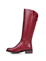 Women's Zipper Low-Heels PU Solid High-top Boots