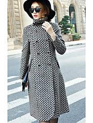 Women's Casual/Daily Simple Coat,Striped Long Sleeve Spring / Fall Beige Wool Medium