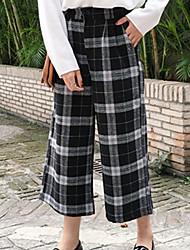 Feminino Solto Chinos Calças-Listrado Casual Simples Cintura Média Botão Algodão Micro-Elástico Outono / Inverno