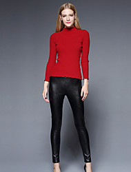 Feminino Tamanhos Grandes Delgado Chinos Calças-Cor Única Casual Simples Cintura Alta Elasticidade PU Micro-Elástico Inverno