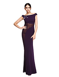2017 TS Couture® Formal Evening Dress - See Through Sheath / Column Off-the-shoulder Floor-length Tulle / Jersey with Beading