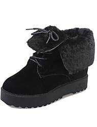 Women's Boots Fall Winter Platform Suede Fur Outdoor Casual Chunky Heel Platform Lace-up Black Gray Walking