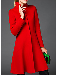 Women's Casual/Daily Simple Coat,Solid Long Sleeve Red / Black Wool