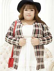 Damen Standard Strickjacke-Lässig/Alltäglich Übergröße Einfach Verziert Grau V-Ausschnitt Langarm Baumwolle Polyester Herbst Winter Mittel