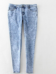Women's Skinny Jeans Pants,Casual/Daily Simple Solid Low Rise Zipper Cotton Stretchy Spring / Fall