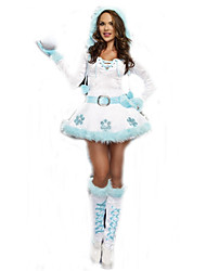 Cosplay Costumes Santa Suits Movie Cosplay White Solid Dress / Gloves / Belt Christmas Female Polyester