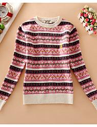 Damen Kurz Pullover-Lässig/Alltäglich Einfach Druck Rosa Beige Grau Rundhalsausschnitt Langarm Baumwolle Herbst Mittel Mikro-elastisch