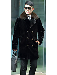 Men's Casual/Daily Simple Fur Coat,Solid Shirt Collar Long Sleeve Winter Black Faux Fur Medium
