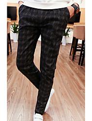 Men's Slim Chinos Pants,Casual/Daily Simple Plaid Mid Rise Drawstring Cotton Micro-elastic Spring / Fall