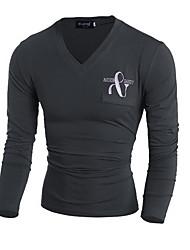 Tee-shirt Hommes,Couleur Pleine Sortie simple Automne Manches Longues Col en V Rouge / Marron / Gris Coton Moyen
