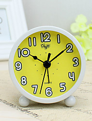 Alarm Clock with Matel Case In Yellow Color Silent Movment Night Light Mini Size