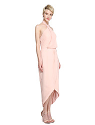 LAN TING BRIDE Asymmetrical Halter Bridesmaid Dress - Furcal Sleeveless Chiffon