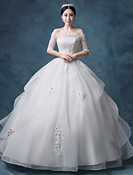 Princess Wedding Dress Floor-length Bateau Lace / Organza / Tulle / Sequined with Appliques / Beading / Lace / Sequin