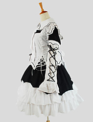 One-Piece/Dress Punk Lolita Elegant Cosplay Lolita Dress White Solid Long Sleeve Tea-length Dress For Women Cotton