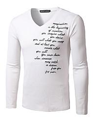 Herren Buchstabe Einfach Lässig/Alltäglich T-shirt,Rundhalsausschnitt Herbst Langarm Weiß Schwarz Grau Modal Mittel