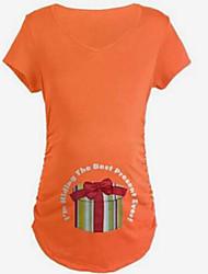 Tee-shirtCouleur Pleine Décontracté / Quotidien simple Printemps Eté Manches Courtes Col Arrondi Coton Moyen