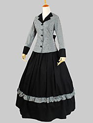 Outfits Classic/Traditional Lolita Victorian Cosplay Lolita Dress Plaid Short Sleeve Ankle-length Top Skirt For Cotton