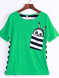 Damen Druck Einfach / Street Schick Lässig/Alltäglich T-shirt,Rundhalsausschnitt Frühling / Sommer Kurzarm Weiß / Grün Andere Mittel