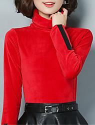 Feminino Blusa Para Noite Casual Tamanhos Grandes Simples Moda de Rua Primavera Outono,Retalhos Azul Vermelho Preto Marrom Verde Raiom