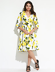 Big Yard Ladies Going out Vintage Sheath / Swing Dress,Print V Neck Knee-length ¾ Sleeve Blue / White Cotton All Seasons