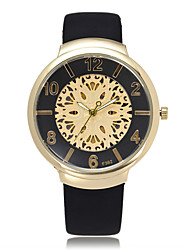 Women's Wrist watch Quartz Genuine Leather Band Black White Gold