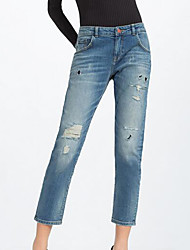 Women's Skinny Jeans Pants,Going out Street chic Print Ripped Mid Rise Elasticity Others Micro-elastic Fall / Winter