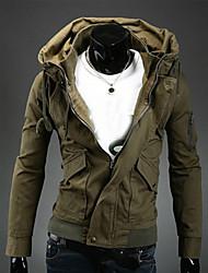Veste Hommes,Couleur Pleine Décontracté / Quotidien Travail Manches Longues Coton Polyester