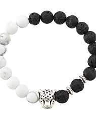 New 2016 White and Black Silver Plated Leopard Charm Stone Beads Bracelets For Men Lava Matte Fashion Men Jewelry