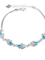 Women's Chain Bracelet Crystal Love Sterling Silver Jewelry For Party