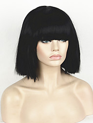 Fashion Wig Women's Short Bob Kinky Straight Full Bangs Synthetic Hairpieces Black Cosplay Wig