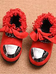 Mädchen-Stiefel-Lässig-Wildleder-Flacher Absatz-Komfort-Schwarz Rot Grau