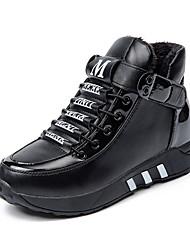 Women's Boots Winter Platform PU Casual Low Heel Platform Magic Tape Black Red Walking