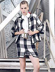 Set Jupe Costumes Femme,Tartan Décontracté / Quotidien Vintage Hiver Manches ¾ Col Ras du Cou Rouge Noir Coton Polyester Moyen