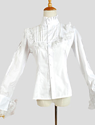 Blouse/Shirt Sweet Lolita Elegant Cosplay Lolita Dress White Solid Long Sleeve Lolita Top For Women Cotton