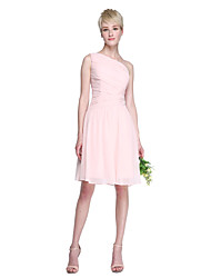 2017 Lanting Bride® Knee-length Chiffon Elegant Bridesmaid Dress - A-line One Shoulder with Side Draping