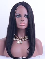 qualité 8a perruque yaki vierge avant de dentelle de cheveux brésiliens cheveux raides couleur noire 130% de la densité de la dentelle de