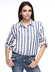 Feminino Camiseta Casual Simples Outono,Listrado Branco Algodão Colarinho de Camisa Manga ¾