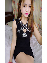 Women's Going out Sexy Bodycon Dress,Solid V Neck Mini Sleeveless Black Cotton Summer Low Rise Micro-elastic Thin