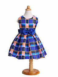 Baby Girl/Girl's Wedding Party Pageant Birthday Dress Cute Plaid & Bow A-Line Dress in Blue