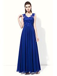 A-Line V-neck Floor Length Chiffon Bridesmaid Dress with Appliques