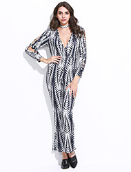 Women's Print Cut Out Slim Wide Leg Jumpsuits Sexy / Vintage Deep V Long Sleeve