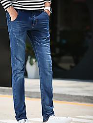 Hommes Slim Jeans Pantalon,simple Décontracté / Quotidien Couleur Pleine Taille Normale fermeture Éclair Coton Micro-élastiqueAutomne