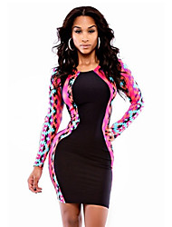 Women's Going out / Party/Cocktail Sexy Bodycon Dress,Patchwork Round Neck Above Knee Long Sleeve Multi-color Polyester Summer High Rise