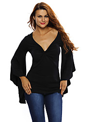 Women's Twisted Plunge Long-Sleeve Top