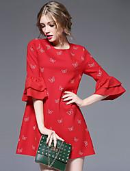 Feminino Bainha Vestido, Casual Fofo Estampado Decote Redondo Acima do Joelho Manga ¾ Vermelho Preto Poliéster Fibra Sintética Elastano