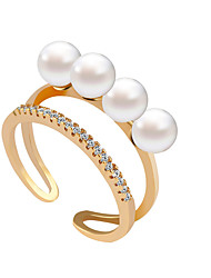 Ring Rhinestone Pearl Imitation Pearl Rhinestone Simulated Diamond Alloy Gold Silver Golden Jewelry Wedding Party 1pc